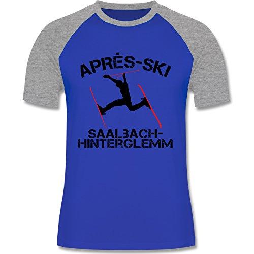 Après Ski - Apres Ski Saalbach Hinterglemm - zweifarbiges Baseballshirt für Männer Royalblau/Grau meliert