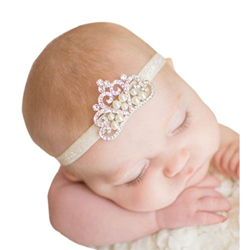 Tonsee 1pcs neue Fashion Lovely Baby Crystal Crown Kinder Haarband Prinzessin Baby Girl Crystal Pearl Krone Haarreifen (weiß)