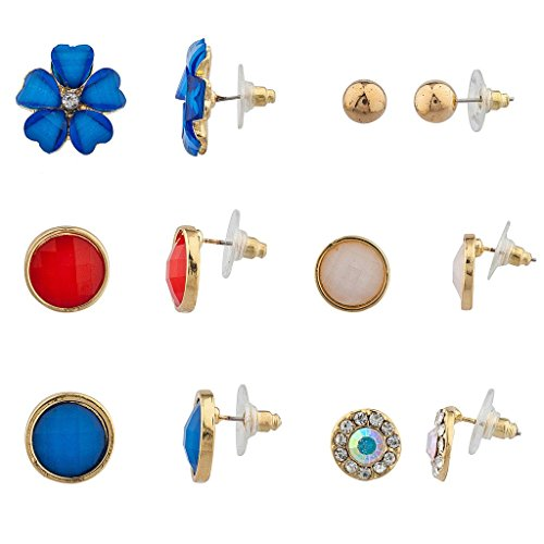 LUX Zubehör goldfarbenes Patriotische Floral Multi Ohrring-Set (6-teilig) (Patriotische Ohrringe)
