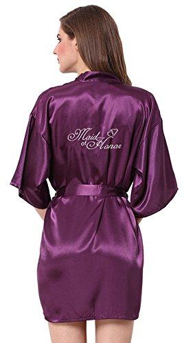 Bestickte Satin-robe (JOYTTON Damen kurze Satin Kimono Robe mit besticktem Maid of Honor (M,Dunkelviolett))