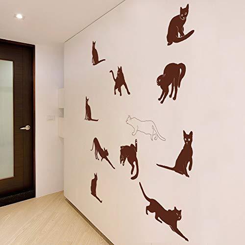 Verspielte Katze Kätzchen Aufkleber moderne Wandaufkleber umweltfreundlich und geschmacklos braun 57cm * 100cm * 1St -