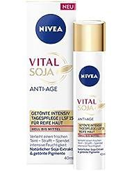 NIVEA  Vital Soja Anti-Age Getönte Intensiv Tagespflege im 1er Pack (1 x 40 ml), Anti Falten Feuchtigkeitscreme mit LSF 15, getönte Tagescreme für einen ebenmäßigen Hautton