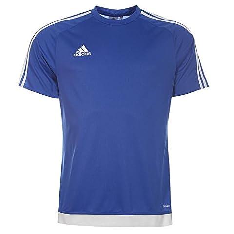 Adidas Estro T Shirt à manches courtes 3bandes pour homme Débardeur Système Climalite Large Bold Blue/White