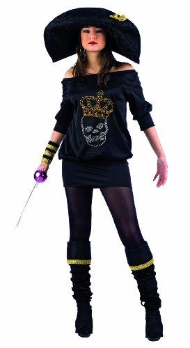 Limit Sport MA981 G.S - Costume da piratessa nera, con strass, 4 pezzi (vestito, stivali, cappello, bracciali) - Lima Cappello