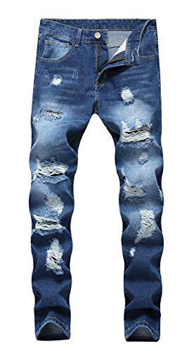Distressed Denim Bootcut Jeans (OKilr Herren Jeans Pjik Slim Skinny Fit Distressed Ripped Elastic Tapered Leg Denim - blau - 48)