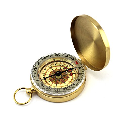Natuce Portable Pocket Watch Flip-Open Compass Brass Metal Camping Hiking Compass Outdoor Navigation Tools - Gold
