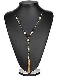 c0394336683e wangzz Cadena De Suéter con Flecos Personalidad Simple Collar De Sol Borla  Cadena De Suéter con
