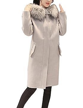 Donna Lunga Cappotto Con Cappuccio Manica Lunga Elegante Trench Coat Giacca Parka Outwear