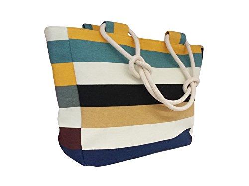 """La Loria Damen Einkaufstasche in """"bunt"""" gestreift - Happy - Schultertasche in weiß-blau-weiß-Braun"""