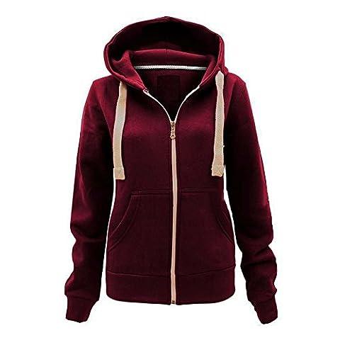 Generic - Sweat à capuche - Uni - Femme noir noir XL - rouge - 46
