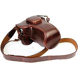 newlan Compact étui en cuir de protection avec sangle d'épaule pour Appareil Photo Numérique Olympus OM-D E-M5em5ii EM-5Mark II avec objectif 16-50mm OSS (Noir)