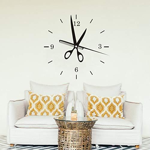 R LY58 Wandaufkleber für Friseur-Uhr, Wandaufkleber, Baeber Shop-Dekoration, Beauty Haircuts, Wand-Dekoration 22X22 schwarz ()