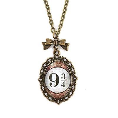 Collier Platform 9 3/4 Harry Potter : Pendentif cabochon en verre, breloque noeud, couleur bronze