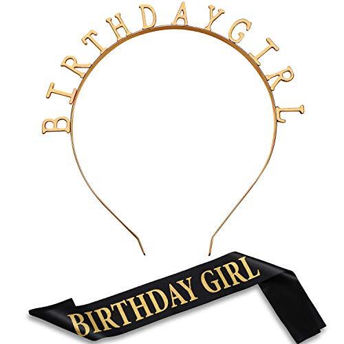 Geburtstag Kopfschmuck Mädchen Tiara Stirnband Gold Geburtstag Satin Schärpe für Party Dekorationen Lieferungen (Gold)