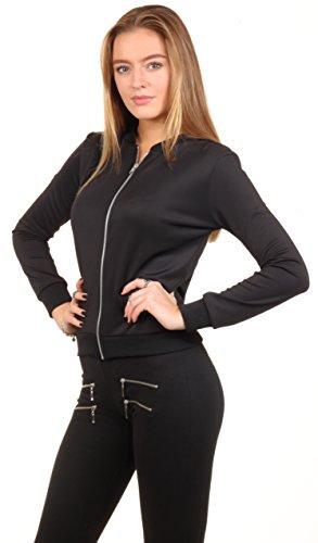 Loomiloo classic style bomber veste de mi-saison veste d'université noir col rond plusieurs coloris disponibles - Noir