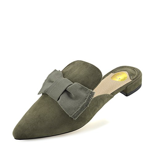 Kick Calzature - Womens Giallo Velluto Point Slipper Shoes Casual Muli A Punta Ciabatte Piatte Kaki