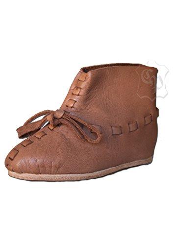 Mittelalterlicher Kinderschuh Lederschuh Halbschuh Knechtschuh Mittelalter - LARP - Wikinger Schuhe Größe 24-34 (24) (Schuhe Mittelalterliche)