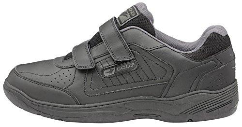 Gola Sportstyle-Scarpe da ginnastica da uomo in pelle, chiusura con Velcro, Belmont Wide Fit Shoes-Scarpe da donna, stile Casual Black