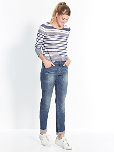 Balsamik - Tee-shirt avec zip épaule - femme Raye bleu marine/blanc