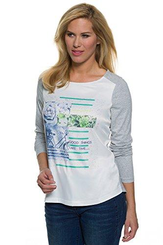 GINA_LAURA Damen | Shirt | Langarmshirt Jersey & Satin | Regular Fit | bis Größe XXL | 172918 Hellgrau-Melange