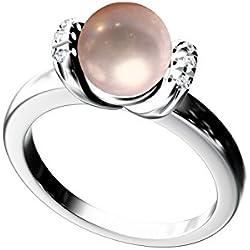 Anillo Perla Natural En Oro 18kt Y 6 Diamantes G-VS1 Blanco Extra Con Certificado.(Talla 7 a 27).