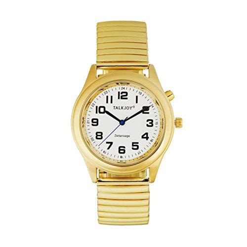 Herren Sprechende Armbanduhr Goldene Uhr Blindenuhr Sprachausgabe Datum Uhrzeit Wochentag TalkJoy