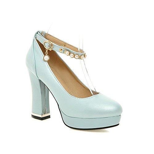 Schuhe Blau Schnalle Damen Pu Eingelegt Allhqfashion Absatz Zehe Schließen Pumps Hoher Rund qUavwS
