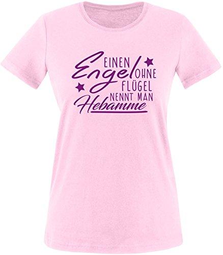 EZYshirt® Ein Engel ohne Flügel nennt man Hebamme Damen Rundhals T-Shirt Rosa/Violett
