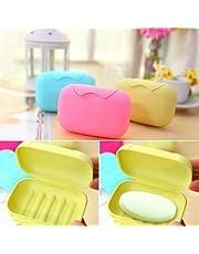 HOME CUBE Plastic Travel Soap Box/Case Holder (12X8X4.5 cm, Assorted Colour) -Set of 2 Pcs
