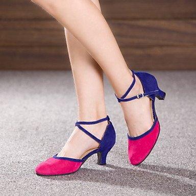 Silence @ Chaussures de danse pour femme en cuir/cuir verni Cuir/cuir verni latine/Jazz talons cubain Heelpractice/débutant/ fuchsia