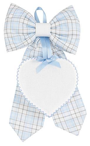 Filet fiocco amp1923b nascita da ricamare   fiocco in cotone con cuoricino in tela aida 55 fori   ideale per il punto croce - colore azzurro - 200 g