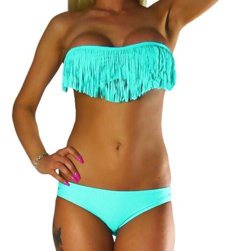 ALZORA Bikini Damen Tassel Fransen Fringe Push Up Set Top und Hose , 10411 Türkis