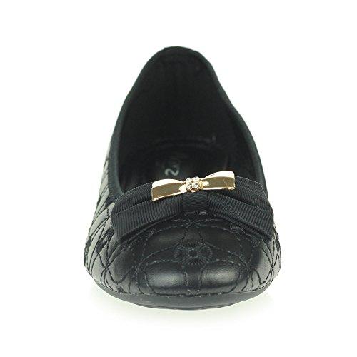 Femmes Dames Ballet plat Dolly Pompes Ballerines Bout fermé Intelligent Travail Bureau Confort Glisser sur Chaussures Taille Noir