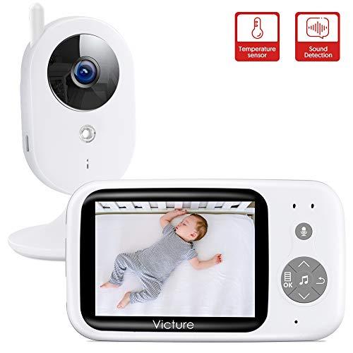 """Victure Vigilabebés Inalambrico con cámara, Monitor para Bebés Digital Compatible con Infrarrojos Sala de Visión Nocturna Audio, Charla bidireccional, Canciones de Cuna, Pantalla LCD de 3.2"""""""