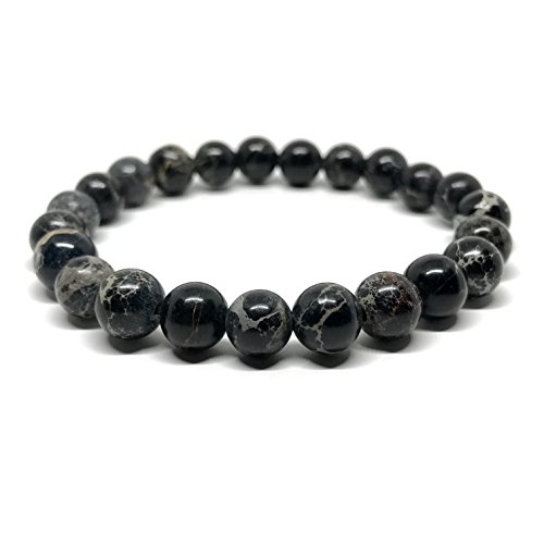 GOOD.designs Chakra Perlen-Armband aus Meeressediment Jaspis-Natursteinen (Schwarz)