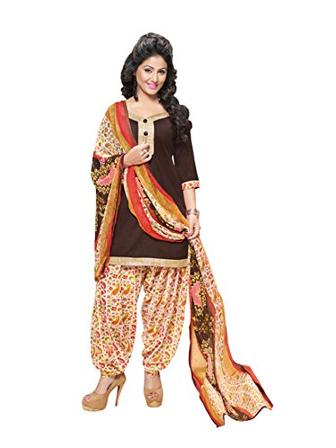 Payal Women's Cotton Brown Colour Salwar Suit Dress Material