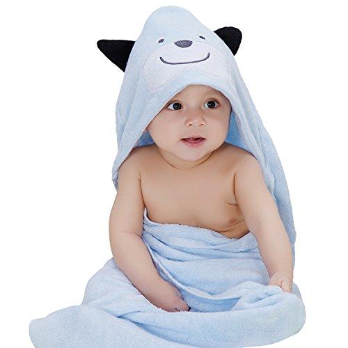 Biubee Baby Bamboo Kapuzenhandtuch (80 * 80cm) - Bio, Hypoallergen, Weich Bad Handtuch für Kleinkind Kleinkind (Blauer Hund)