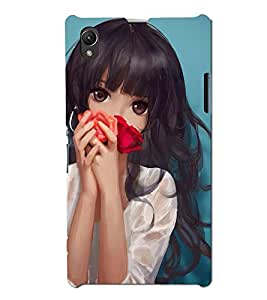 Blue Throat Animated Girl Fairytale pic Back Case Cover for Sony Xperia Z1 :: Sony Xperia Z1 L39h :: Sony Xperia Z1 C6902/L39h :: Sony Xperia Z1 C6903 :: Sony Xperia Z1 C6906 :: Sony Xperia Z1 C6943