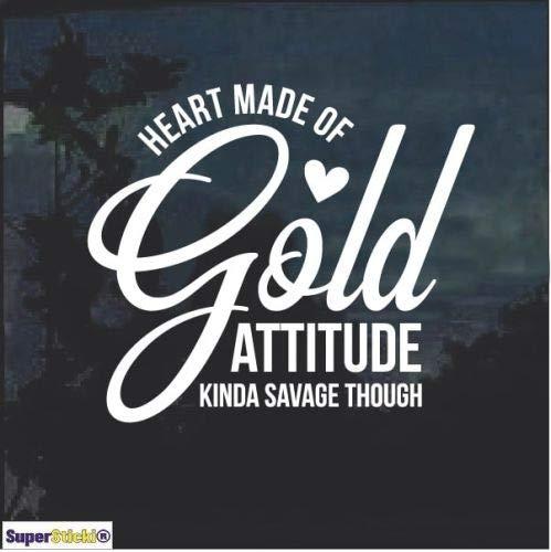 SUPERSTICKI Heart of Gold Attitude Savage Window ca.20cm Aufkleber,Autoaufkleber,Sticker,Decal,Wandtattoo, aus Hochleistungsfolie,UV&waschanlagenfest, -