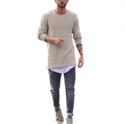 Langarm Pullover Herren, DoraMe Männer Slim Fit Gestrickt Sweatshirt Rundhals T-Shirt Freizeit Hemd Tops(Bitte wählen Sie eine größere Größe als üblich) (Beige, XS) (Polyester-freizeit-anzug-jacke)