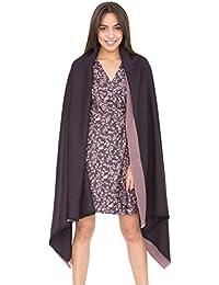 Grande écharpe pashmina polaire tissée à la main avec liseré texturé violet de 100x 200cm