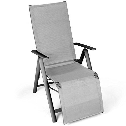 Vanage Alu Gartenstuhl mit Fußableger in grau - Klappstuhl - Hochlehner - Klappsessel - Gartenmöbel - Stuhl für Garten, Terrasse und Balkon geeignet