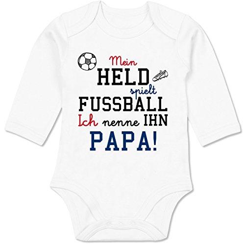 Shirtracer Sprüche Baby - Mein Held spielt Fußball - 3-6 Monate - Weiß - BZ30 - Baby Body Langarm - Fußball Body