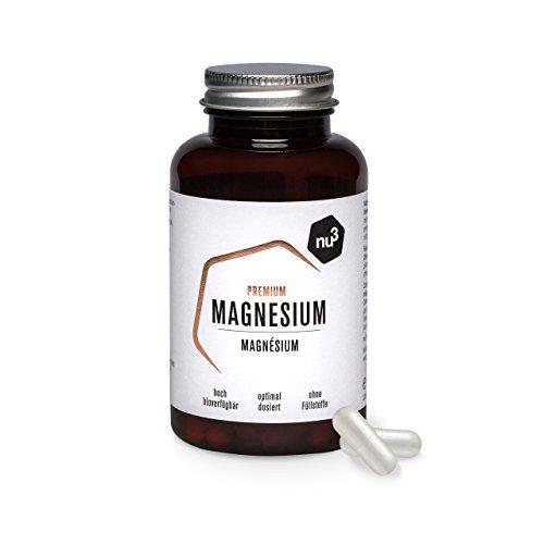 nu3 Premium Magnesium – 120 Kapseln – 378 mg Magnesium pro 2 Kapseln – hohe Bioverfügbarkeit – Vegane Kapsel – organisches Magnesiumcitrat – sehr rein und ohne Füllstoffe oder Farbstoffe