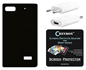 Chevron Rubberized Matte Finish Back Cover Case for Huawei Honor 4C with HD Screen Guard & USB Mobile Wall Charger (Diamond Black)