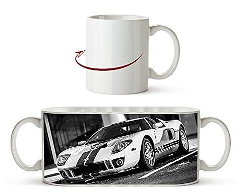 Atemberaubender Ford GT Effekt: Schwarz/Weiß als Motivetasse 300ml, aus Keramik weiß, wunderbar als Geschenkidee oder ihre neue Lieblingstasse.