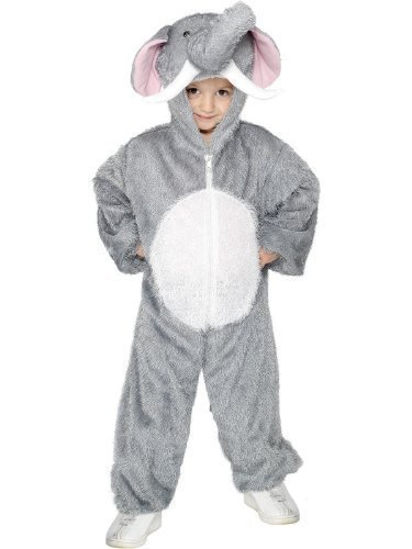 isex Tier Elefanten Dschungel Buch Kostüm Jumpsuit Halloween Outfit - Grau, 7-9 Jahr (Dschungel-buch-kostüme Für Kinder)
