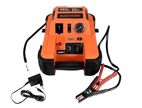 Black- & Decker Jump It BDJS4501 450AMP-Starthilfe-Ladegerät für 12 V Auto Batterien Plus 120 PSI-Kompressor, Netzladeadapter, LED-Licht + Anzeige
