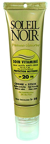 SOLEIL NOIR 41 Combi Soin Vitaminé 20 Protection Moyenne/Stick Ip 30