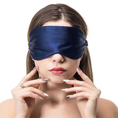 Schlafmaske Augenmaske Seide Damen Und Herren-Verstellbares Elastikband natürlich 100% Maulbeere seide Augenbinde bequeme und weiche Schlafbrille Atmungsaktiv für Reise Zuhause Marine von COLD POSH